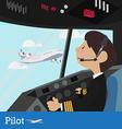 Pilot design Flight Deck aircraft Pilots at work f vector image vector image