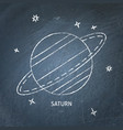 planet saturn icon on chalkboard vector image vector image