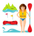 rafting girl flat style colorful cartoon vector image vector image