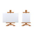 realistic wooden easel blank canvas set vector image vector image