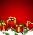 Red christmas background with gift boxes vector image vector image