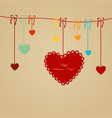 red paper heart valentines day card with sign on vector image vector image