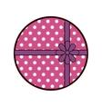 round pink gift box present ribbon dots vector image