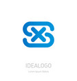 s and x logo xs - design element or icon initial vector image vector image