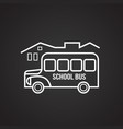 school bus thin line on black background vector image