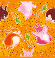 seamless pattern with cartoon pretty rabbits and vector image