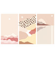 set abstract mountain landscapes a warm vector image vector image