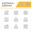 set line icons buildings vector image vector image