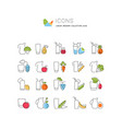 set line icons juices vector image vector image