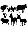 set of silhouette animal vector image