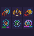 set sporting neon icons vector image
