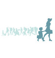 silhouette mother and daughter traveling vector image