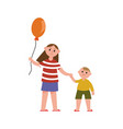 sister with balloon holding her little brothers vector image vector image