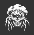 skull with rastaman hat and dreadlocks vector image vector image
