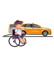 taxi or car for man on wheelchair vector image vector image