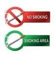 The sign no smoking and smoking area vector image
