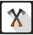 Two crossed axes icon flat style vector image vector image