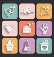Valentine day love icons set vector image