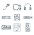 various dark outline sound devices icons set vector image vector image