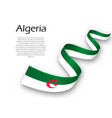 waving ribbon or banner with flag of algeria