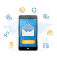 contact us web design online concept mobile phone vector image