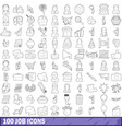 100 job icons set outline style vector image