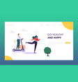 active people character in park landing page sport vector image