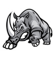 Angry rhino ready to ram vector image vector image