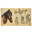 Animals theme HORSES - hand drawn pack vector image