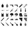 army and armament blackmonochrome icons in set vector image vector image