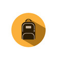 backpack icon with shadow on a yellow circle vector image vector image