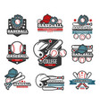 baseball tournament isolated icons sporting items vector image vector image