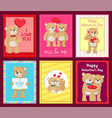 bears on festive postcards for valentines day vector image vector image