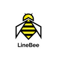 Bee logo design template linear geometric style