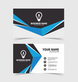 blue shaped business card print template vector image vector image