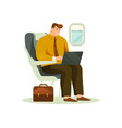 businessman or busy man working on board plane vector image vector image