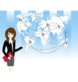 Businesswoman with world map vector image vector image