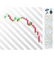 candlestick chart down flat icon with bonus vector image vector image