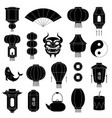 chinese symbols silhouettes asian paper lanterns vector image