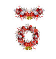 christmas wreath with ribbons balls and bow vector image vector image