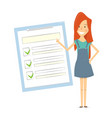 claim form woman shows a document checklist vector image vector image