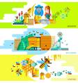 Colorful Beekeping Horizontal Banners vector image vector image