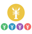 crayfish colored round icons vector image vector image