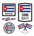 cuba quality label set for goods vector image vector image