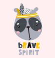 cute cartoon panda face childish print for vector image vector image