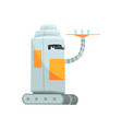 cute cartoon robot waiter character with tray vector image vector image