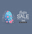 easter sale banner card with hand drawn flowers vector image