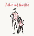 father child silhouette hand drawn sketch vector image vector image