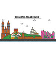 germany magdeburg city skyline architecture vector image vector image