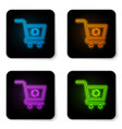 glowing neon refresh shopping cart icon isolated vector image vector image